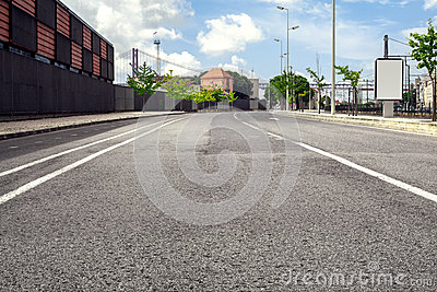 Empty street road in city with sky Stock Photo