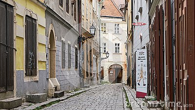Empty Street Scene in atmospheric Bratislava Slovakia Editorial Stock Photo