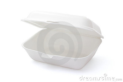 Empty styrofoam meal box