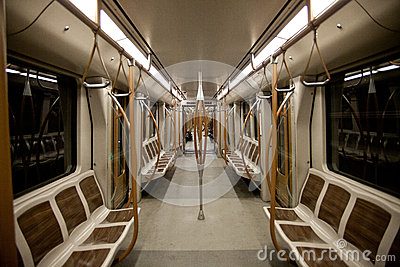 Empty subway wagon interior