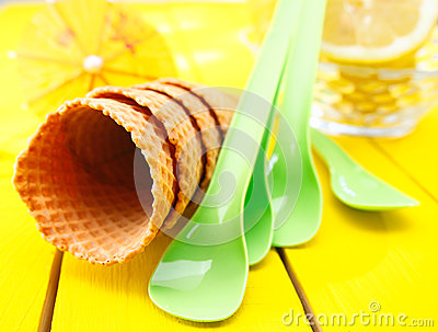 Empty sugar wafer icecream cones