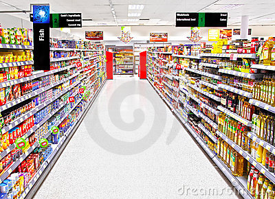 Empty supermarket shopping aisle Editorial Stock Photo