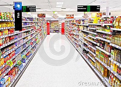 Supermarket aisle Editorial Stock Photo