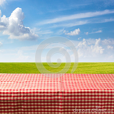 Free Empty Table Covered With Checked Tablecloth Over Green Meadow And Blue Sky Royalty Free Stock Photo - 31636225