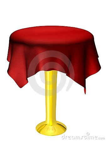 Empty table with red tablecloth