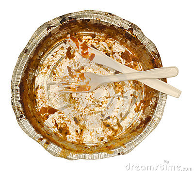 Empty take out food container, plastic knife, fork