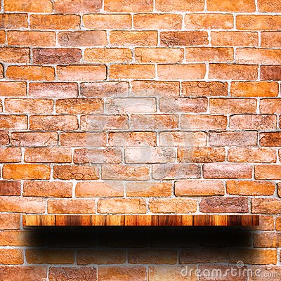 Free Empty Top Of Wooden Shelf With Red Brick Wall. Royalty Free Stock Images - 114537209