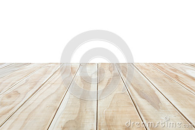 Empty top of wooden table or counter isolated on white backgroun