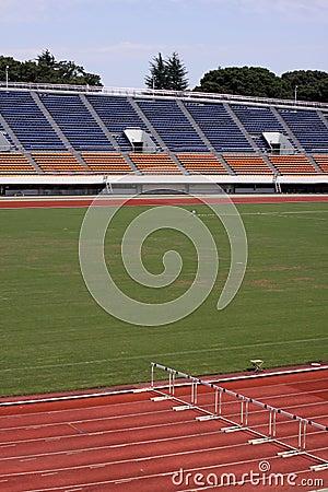 Empty track and field stadium