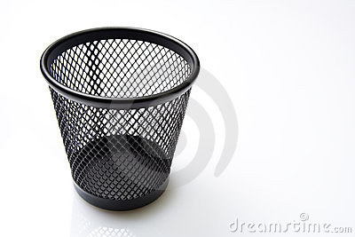 Empty trash bin on white background
