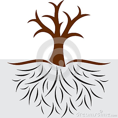 Empty tree with roots Vector Illustration
