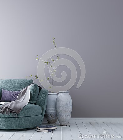 Free Empty Wall For Mockup With Pastel Scandinavian Minimalist Interior Background. Stock Images - 127222354