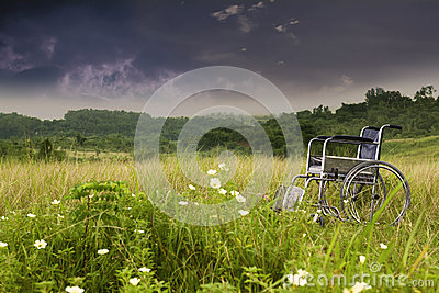 Empty wheelchair in nature