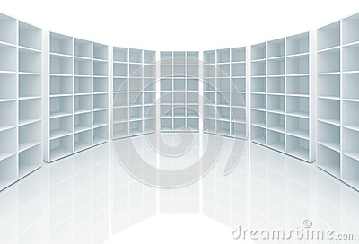 Empty white cabinets with cells