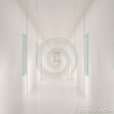 Empty White Corridor