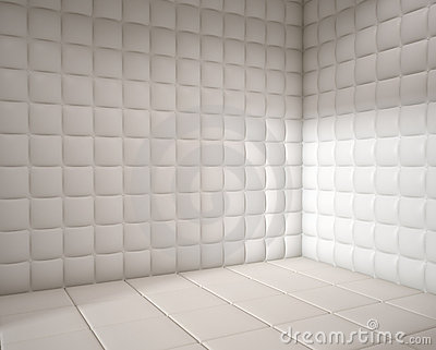 Empty white padded room