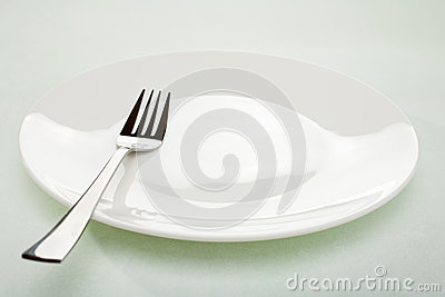 Empty White Plate and Fork