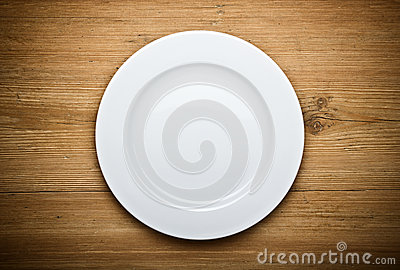Empty White Plate on Wood