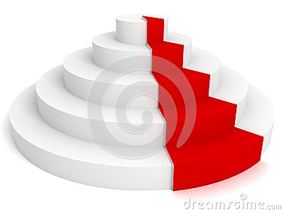 Empty white podium with red carpet 3d