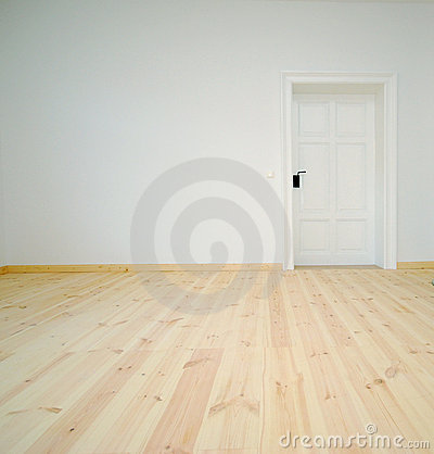 Empty White Room with Door
