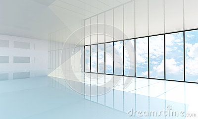 Empty white room with the large window
