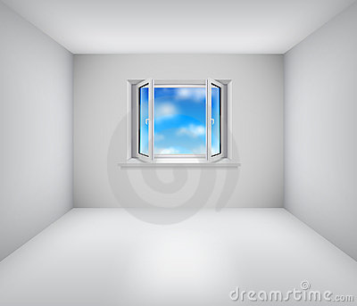 Empty white room with open window