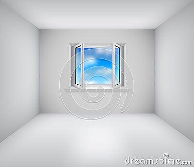 Empty white room with open window