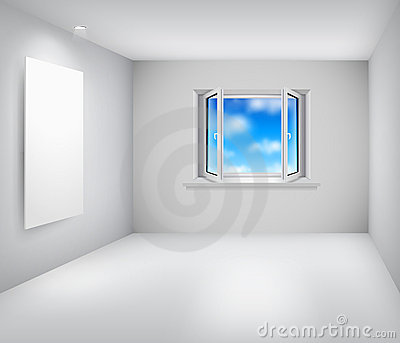 Empty white room with open window and frame