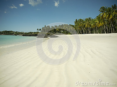 Empty white sand beach on paradise island