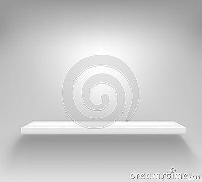 Empty white shelf hanging on a wall