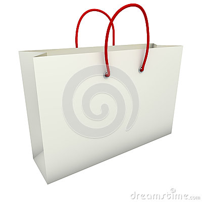 Free Empty White Shopping Bag With Red Handles Royalty Free Stock Image - 30473376