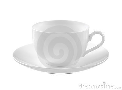 Empty white tea cup and saucer