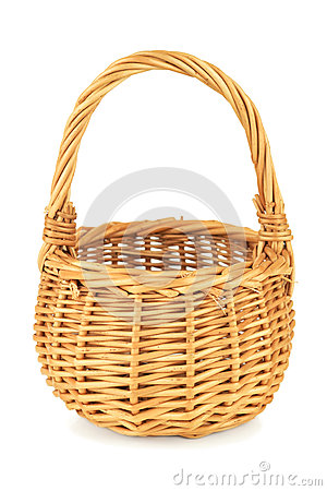 Free Empty Wicker Basket On White Backgorund Stock Photography - 26430892