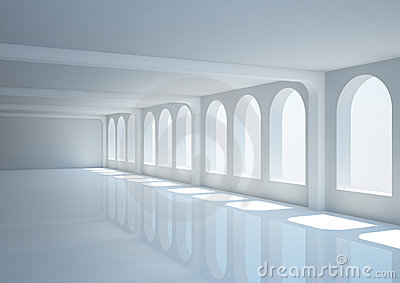 Empty wide hall with columns and arched windows