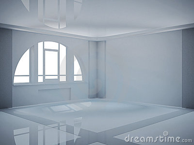 Empty wide room with arched window
