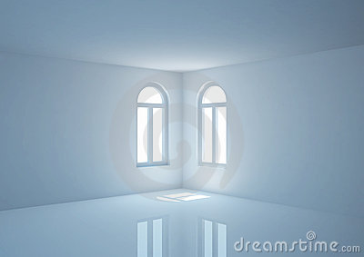 Empty wide room with arched windows, angular view