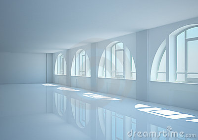 Empty wide room with big arched windows