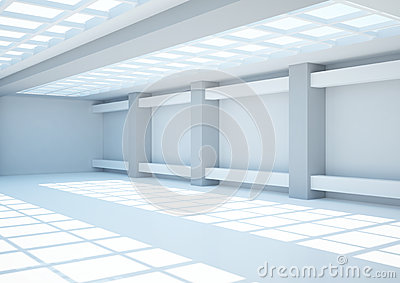 Empty wide room with lattice