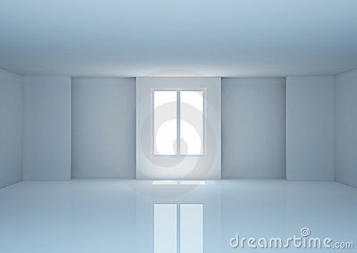 Empty wide room with niches