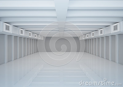 Empty wide room with ventilation, warehouse space