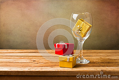 Empty wine glass with gift boxes royalty free stock photos for Empty wine crates