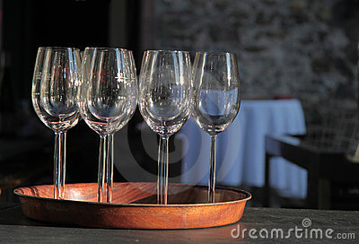 Empty wine glasses on tray