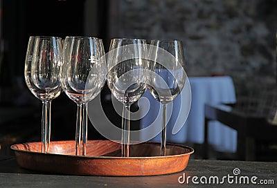 Empty wine glasses on tray