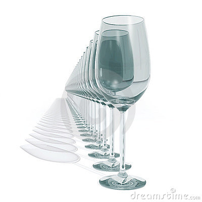 Empty wineglass in row