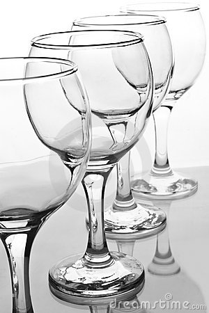 Empty wineglasses with reflection