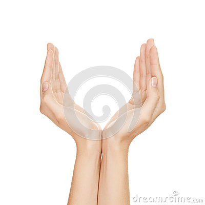 Empty woman hands isolated