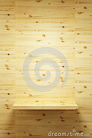 Empty wood shelf on wall
