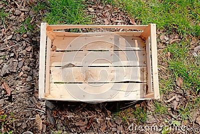 Empty wooden box on ground