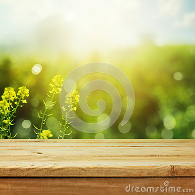 Free Empty Wooden Deck Table Over Green Meadow Bokeh Background For Product Montage Display. Spring Or Summer Season Stock Image - 86331861