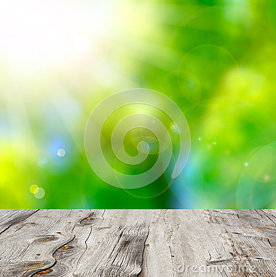 Free Empty Wooden Deck Table With Foliage Bokeh Background. Stock Photos - 35403083